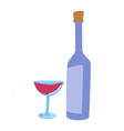 a wine bottle and wine glass on white vector image vector image
