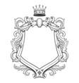 baroque shield drawing vector image vector image