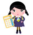 Beautiful school girl with yellow calculator vector image vector image