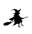 black silhouette of witch fly on broomstick vector image