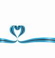 botswana flag heart-shaped ribbon vector image