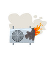 broken burning air conditioner damaged home vector image