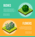 bushes and flowers for park design posters vector image vector image