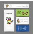 Business cards design with hand massage vector image