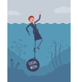 Businesswoman drowning chained with a weight vector image vector image