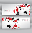 casino playing cards banners set background vector image vector image