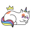 cat unicorn icon cute fairytale animal character vector image