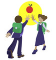 children students are drawn to knowledge red apple vector image