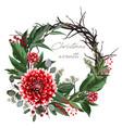 christmas card wreath flowers vector image vector image
