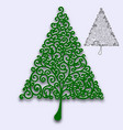 christmas tree with curls pattern for design of vector image vector image