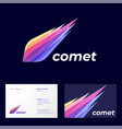 comet logo astronomical object icon transparent vector image vector image