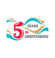 creative emblem five years anniversary vector image