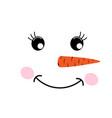 cute fun face snowman vector image vector image