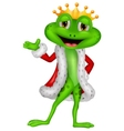 Cute king frog cartoon with presenting vector image vector image