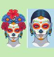 dia de los muertos lady makeup and accesories vector image vector image