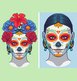 dia de los muertos lady makeup and accessories vector image vector image