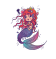 Doodle Mermaid Under the Sea Cartoon Character vector image vector image