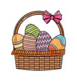 drawing easter basket with egg decoration party vector image