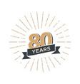 eighty anniversary retro emblem vintage vector image vector image