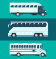 Flat design of passenger bus set vector image