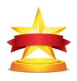 Gold Star Award Red Ribbon With Place For Text vector image vector image