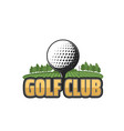 golf club icon with field and ball vector image vector image