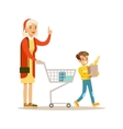 Grandmother And Grandson Shopping Happy Family vector image vector image