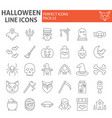 halloween thin line icon set horror symbols vector image vector image