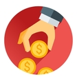 hand holding money coin red shadow and flat theme vector image vector image