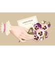 hand with pansies vector image vector image