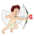 happy cupid with bow and arrow vector image
