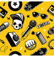 hip-hop seamless pattern with music equipment vector image
