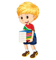 Little boy carrying stack of books vector image
