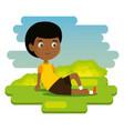 little boy happy character vector image vector image