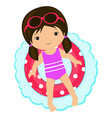 little girl swimming lifebuoy vector image