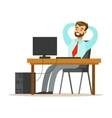 Man Resting And Stretching At His Desk Part Of vector image vector image