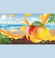mango fruit sliced on tropic background realistic vector image vector image