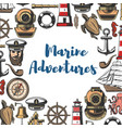 marine adventure icons and symbols sea attributes vector image vector image