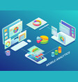 mobile web analytics infographic flat vector image