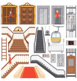 modern elevators and luxurious staircases set vector image