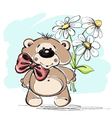 nice little bear and a bouquet flowers vector image vector image