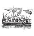 Norman Ship vintage engraving vector image vector image