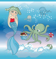 octopus regale mermaid new year color vector image vector image