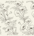pattern of poppy flowers on a gray background vector image