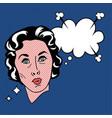 retro pop art woman thought cloud image vector image