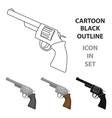 revolver icon in cartoon style isolated on white vector image vector image