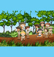 scene with many kids hiking up mountain vector image vector image