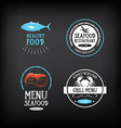 Seafood menu and badges design elements vector image vector image