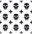 seamless pattern with skulls black and white vector image vector image