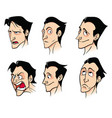 set of emotions of a dark-haired man on a white vector image
